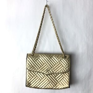 Rebecca minkoff gold leather quilted purse affair